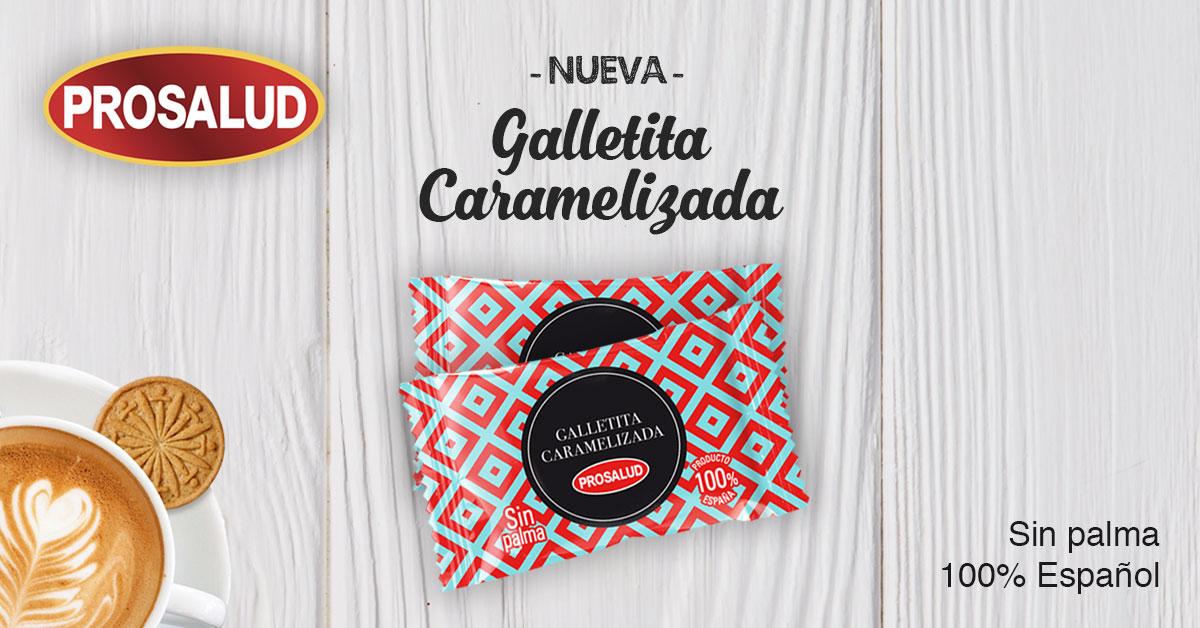 Nueva galletita caramelizada Prosalud formato hosteleria producto de cortesia