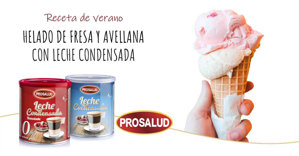 recetas de helado de fresa casero y avellana con leche condensada Prosalud