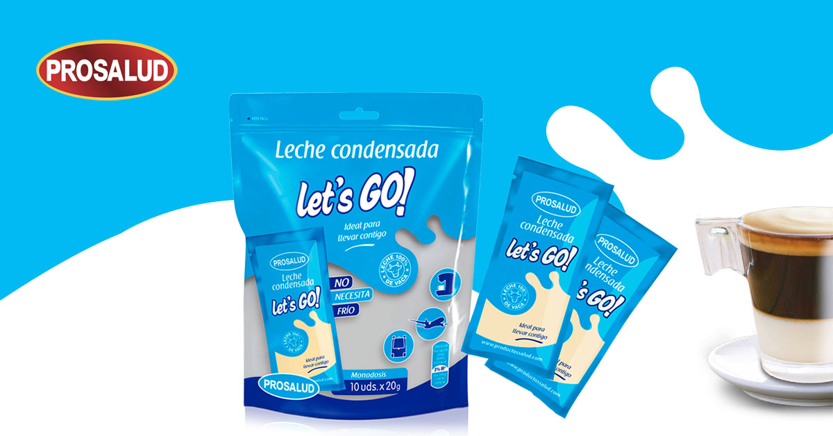 Leche condensada sobres monodosis bolsita lets go
