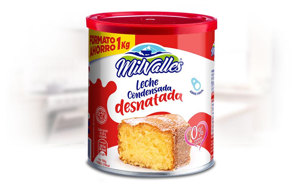 Lata de Leche Condensada entera Gran desnatada Consumo Milvalles 1 kilo