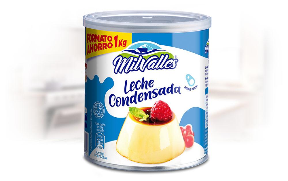 Lata de Leche Condensada entera Gran Consumo Milvalles 1 kilo